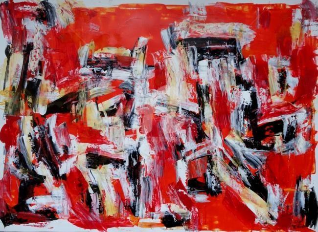 Sio Montera - Untitled on Red Cadmium